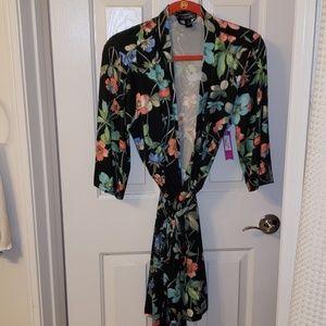 Black floral robe